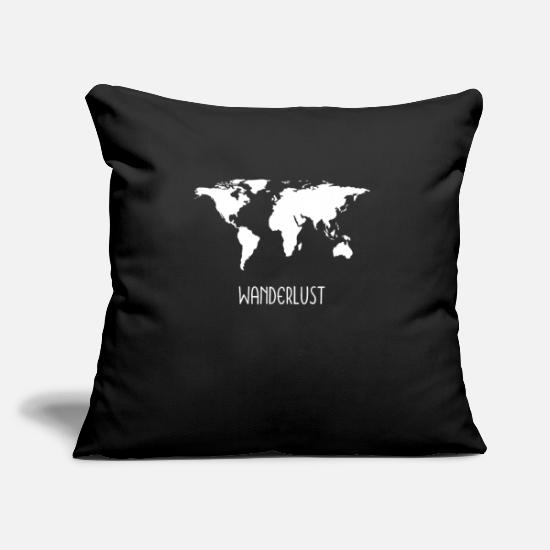 Motorhome Pillow Cases - Wanderlustmotiv World Map Gift Gift Idea - Pillowcase 17,3'' x 17,3'' (45 x 45 cm) black
