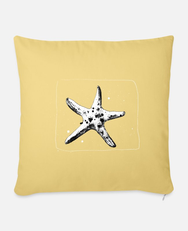 Water Pillow Cases - hand-drawn starfish - Pillowcase 17,3'' x 17,3'' (45 x 45 cm) washed yellow
