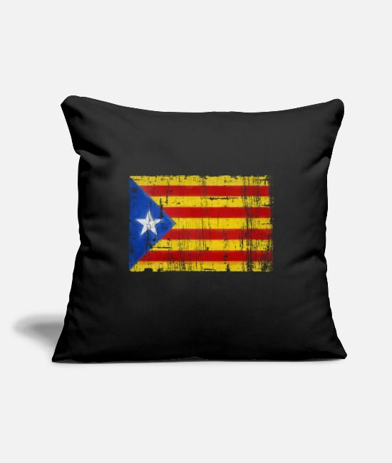 EU Pillow Cases - Grungy Catalonia flag - Pillowcase 17,3'' x 17,3'' (45 x 45 cm) black