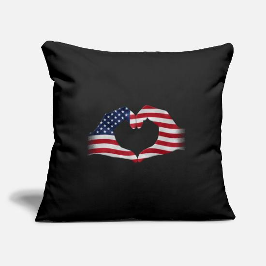 Patriot Pillow Cases - Hands shaped to heart USA flag - Pillowcase 17,3'' x 17,3'' (45 x 45 cm) black