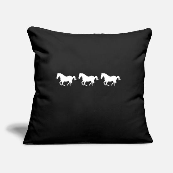 Horse Pillow Cases - Galloping horses - Pillowcase 17,3'' x 17,3'' (45 x 45 cm) black