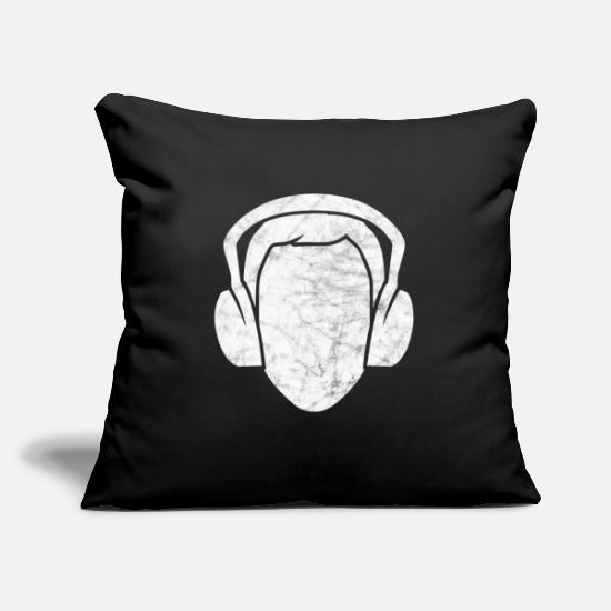 Cd Pillow Cases - Headphones Music DJ Disc Jockey Dancing Club Vinyl - Pillowcase 17,3'' x 17,3'' (45 x 45 cm) black