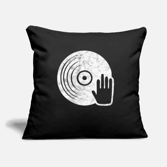 Cd Pillow Cases - Plate Vinyl Disc Jockey DJ Mixing Scratching Club - Pillowcase 17,3'' x 17,3'' (45 x 45 cm) black