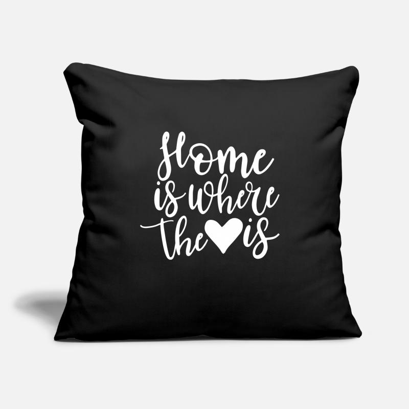 Valentine's Day Pillow cases - HOME - HEART - Pillowcase 17,3'' x 17,3'' (45 x 45 cm) black