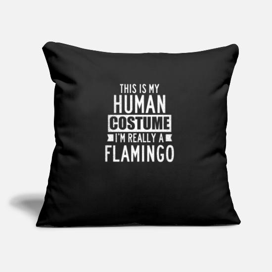 Skeleton Pillow Cases - Flamingo Halloween Dress Up Human Gift - Pillowcase 17,3'' x 17,3'' (45 x 45 cm) black
