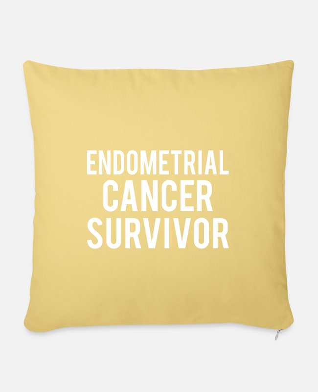 Ribbons Pillow Cases - Endometrial Cancer: Endometrial Cancer Survivor - Pillowcase 17,3'' x 17,3'' (45 x 45 cm) washed yellow