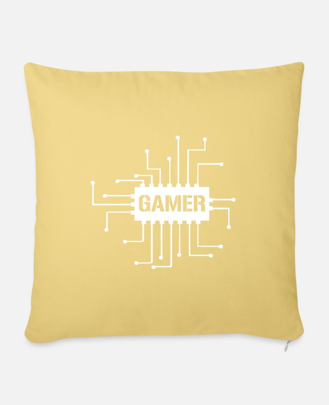 Video Game Pillow Cases - Gamer nerd pc - Pillowcase 17,3'' x 17,3'' (45 x 45 cm) washed yellow
