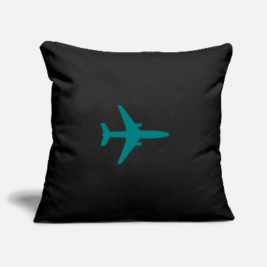 Teal Airplane silhouette teal - Pillowcase 17,3'' x 17,3'' (45 x 45 cm)
