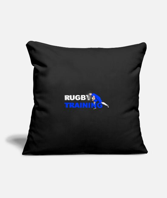 Stadium Pillow Cases - RUGBY TRAINING BLUE AND WHITE - Pillowcase 17,3'' x 17,3'' (45 x 45 cm) black