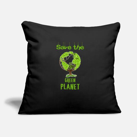 Green Planet Gift Pillow Cases - Green planet - Save the green planet. - Pillowcase 17,3'' x 17,3'' (45 x 45 cm) black