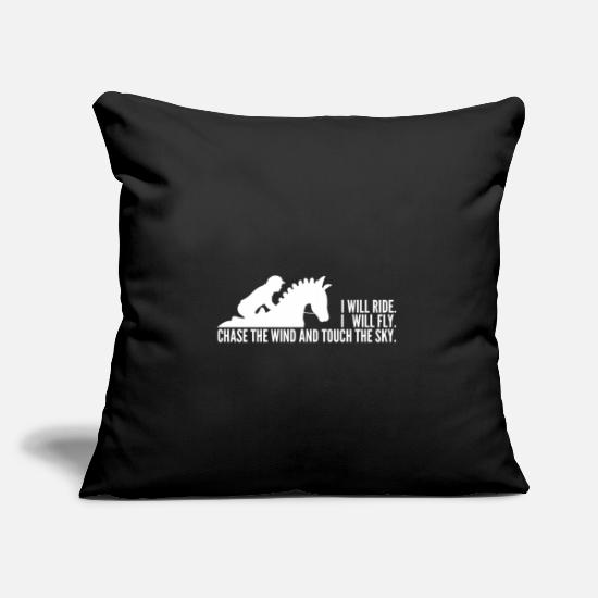 Gift Idea Pillow Cases - Riding flying sky horse rider horse love - Pillowcase 17,3'' x 17,3'' (45 x 45 cm) black