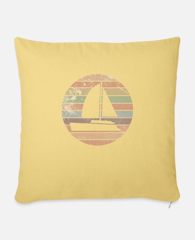 Water Pillow Cases - Sailboat boat sailor retro sea captain Geshenk - Pillowcase 17,3'' x 17,3'' (45 x 45 cm) washed yellow