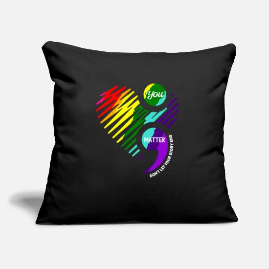 Mental Health Pillow Cases - Semicolon Mental Health Awareness design - Pillowcase 17,3'' x 17,3'' (45 x 45 cm) black