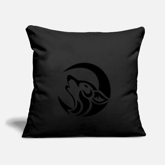 Tribal Pillow Cases - wolf moon - Pillowcase 17,3'' x 17,3'' (45 x 45 cm) black