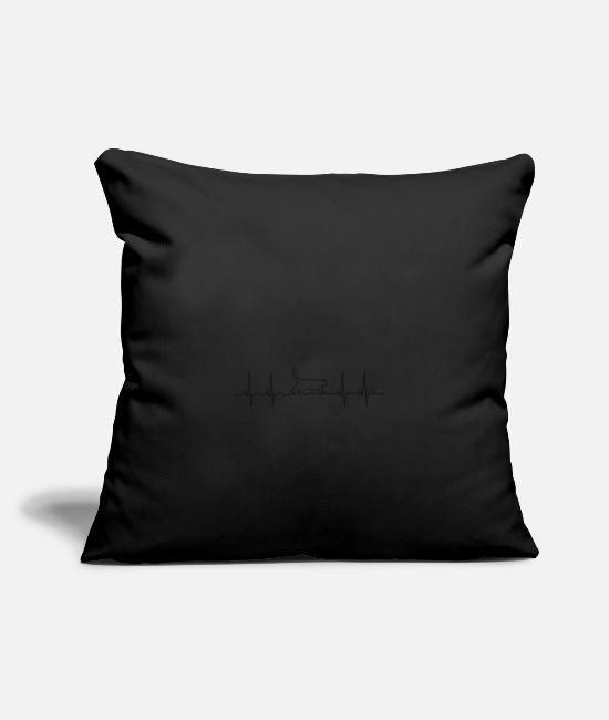 Heart Rate Pillow Cases - Cats pulse black gift - Pillowcase 17,3'' x 17,3'' (45 x 45 cm) black