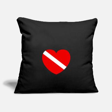 Diver with heart - Pillowcase 17,3'' x 17,3'' (45 x 45 cm)