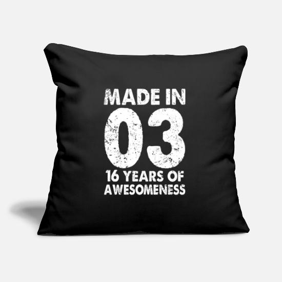 Birthday Pillow Cases - 16th birthday 2003 - Pillowcase 17,3'' x 17,3'' (45 x 45 cm) black