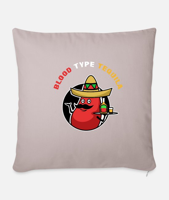 Type Pillow Cases - Blood drop Tequila blood type - Pillowcase 17,3'' x 17,3'' (45 x 45 cm) light taupe
