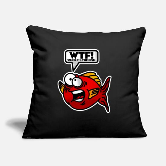 Fishing Rod Pillow Cases - WTF - Where is the fish? Where is the fish? angler - Pillowcase 17,3'' x 17,3'' (45 x 45 cm) black