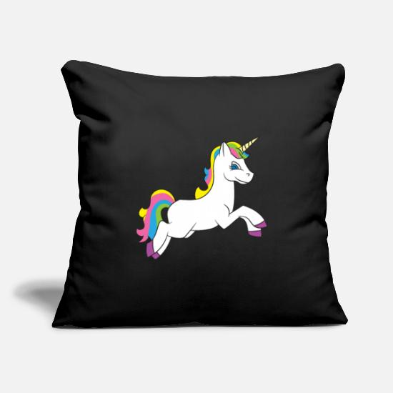 Gift Idea Pillow Cases - Jumping unicorn with colorful mane - Pillowcase 17,3'' x 17,3'' (45 x 45 cm) black