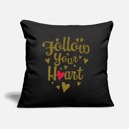 Love With Heart Pillow Cases - 128 Follow your heart - Pillowcase 17,3'' x 17,3'' (45 x 45 cm) black