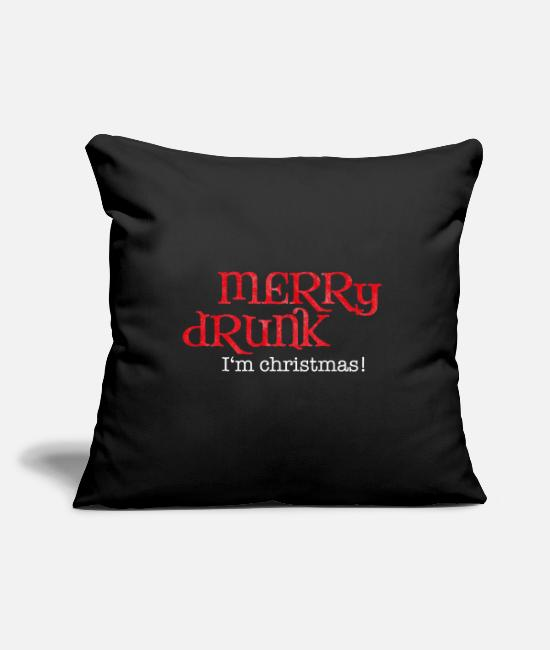 Christmas Pillow Cases - Celebrating Christmas gift drunk beer funny - Pillowcase 17,3'' x 17,3'' (45 x 45 cm) black