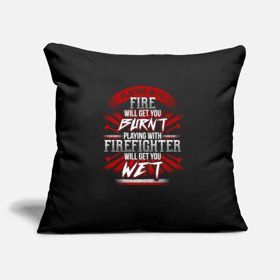 Play Pillow Cases - Playing with Firefighter - EN - Pillowcase 17,3'' x 17,3'' (45 x 45 cm) black