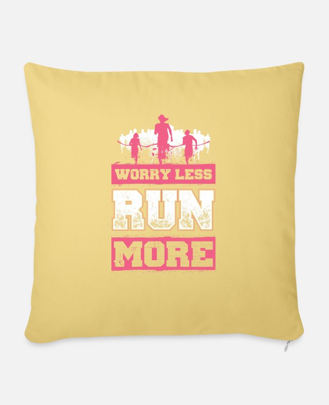 Renner Pillow Cases - Worry Less - Run More - EN - Pillowcase 17,3'' x 17,3'' (45 x 45 cm) washed yellow