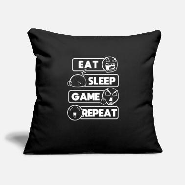 Eat Sleep Game Repeat Gamer Gift Computer Game - Pillowcase 17,3'' x 17,3'' (45 x 45 cm)