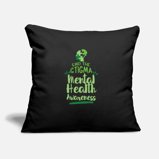 Psyche Pillow Cases - End the Stigma Mental health awareness - Pillowcase 17,3'' x 17,3'' (45 x 45 cm) black