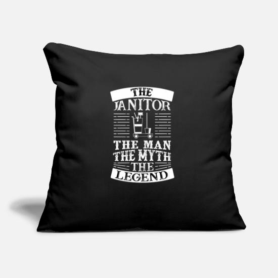 Clean Pillow Cases - THE JANITOR THE MAN THE MYTH THE LEGEND - Pillowcase 17,3'' x 17,3'' (45 x 45 cm) black