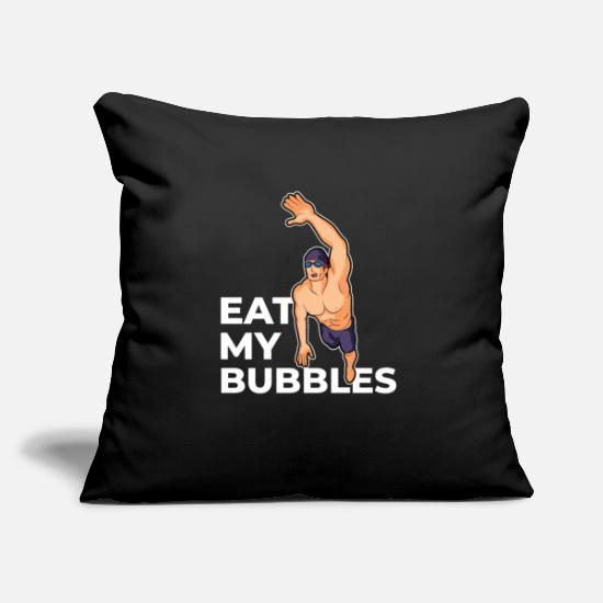 Aquatics Pillow Cases - Eat My Bubbles Swim Sayings Swimmer Crawl - Pillowcase 17,3'' x 17,3'' (45 x 45 cm) black