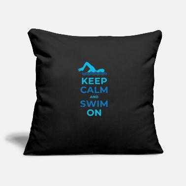 Keep calm and swim on fun design. - Pillowcase 17,3'' x 17,3'' (45 x 45 cm)
