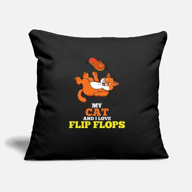 Puppies Flip Flops Cat Lover Fan Drawing Playing - Pillowcase 17,3'' x 17,3'' (45 x 45 cm)