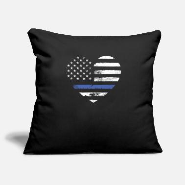 American Thin Blue Line American Flag Heart - Pillowcase 17,3'' x 17,3'' (45 x 45 cm)