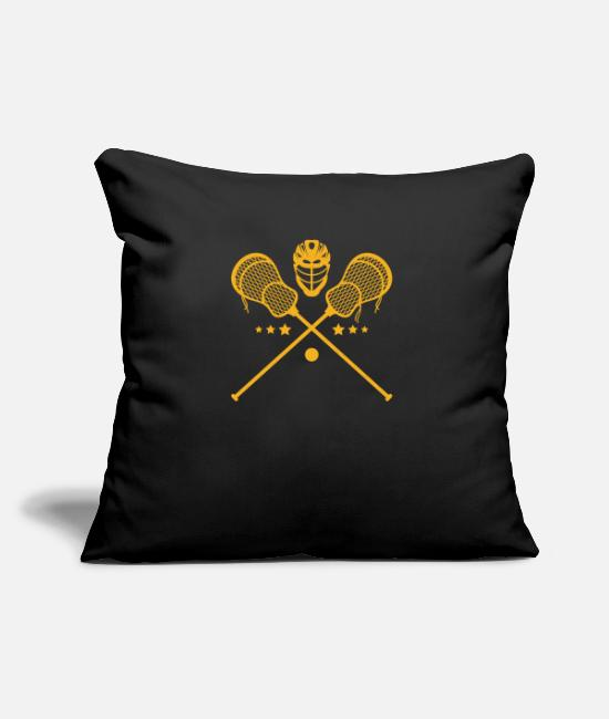 College Pillow Cases - Crossed sticks and helmet lacrosse athlete lax - Pillowcase 17,3'' x 17,3'' (45 x 45 cm) black