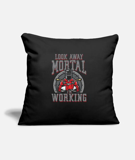 Sheet Metal Worker Pillow Cases - Look away mortal i work | Welder - Pillowcase 17,3'' x 17,3'' (45 x 45 cm) black