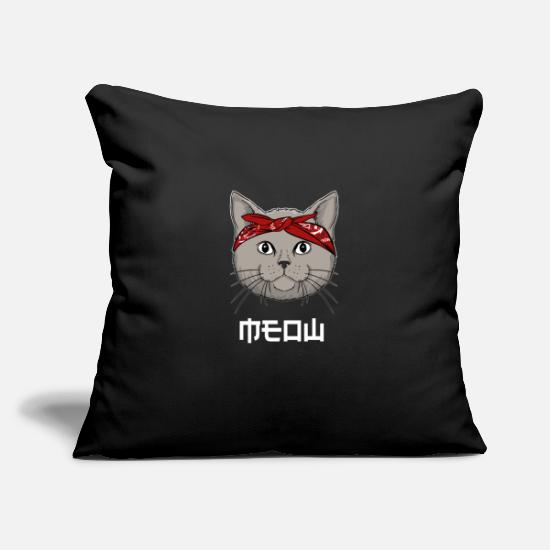 Cats And Dogs Collection Pillow Cases - Cat with Bandana - Yakuza Gangster Cat Gifts - Pillowcase 17,3'' x 17,3'' (45 x 45 cm) black