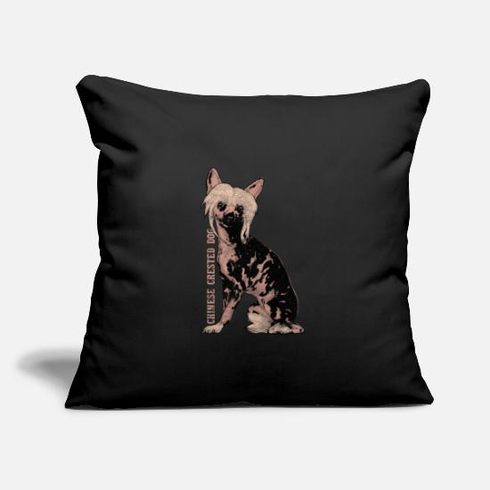 Gift Idea Pillow Cases - Chinese crested dog - Pillowcase 17,3'' x 17,3'' (45 x 45 cm) black