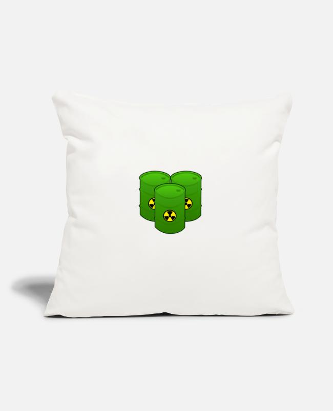 Atomic Bomb Pillow Cases - Nuclear waste barrels - Pillowcase 17,3'' x 17,3'' (45 x 45 cm) natural white