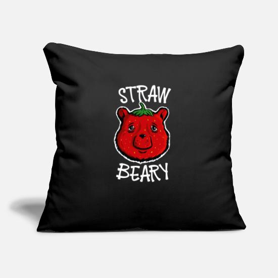 Grizzly Kussenslopen - Strawberry Bear Strawbeary leuk cadeau - Kussenhoes zwart