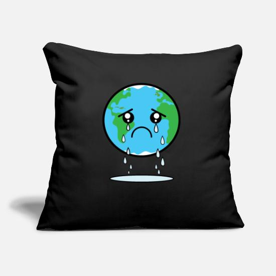 World Pillow Cases - Sad Earth design Gift for Green Planet - Pillowcase 17,3'' x 17,3'' (45 x 45 cm) black