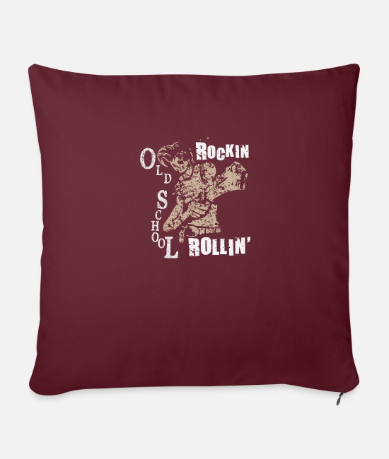 Chant Pillow Cases - Music Rock and Roll Guitar Skull Gift - Pillowcase 17,3'' x 17,3'' (45 x 45 cm) burgundy