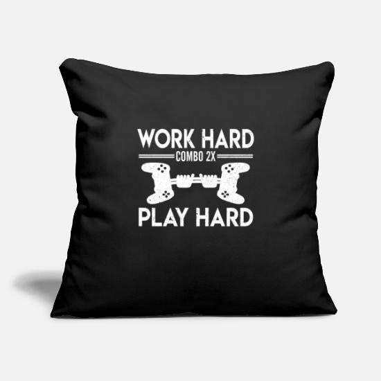 Life Force Pillow Cases - WORK HARD PLAY HARD - Pillowcase 17,3'' x 17,3'' (45 x 45 cm) black