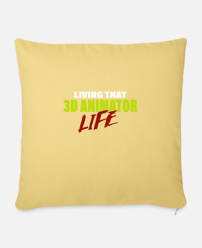 Design Pillow Cases - Living That 3D Animator Life Design Animators - Pillowcase 17,3'' x 17,3'' (45 x 45 cm) washed yellow