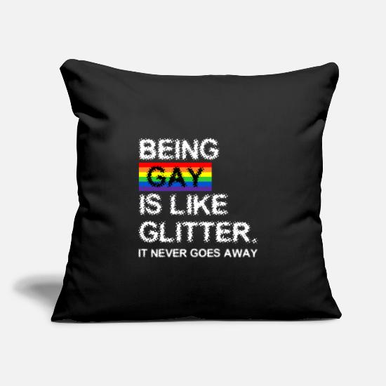 Gay Pillow Cases - Gay is glitter - Pillowcase 17,3'' x 17,3'' (45 x 45 cm) black