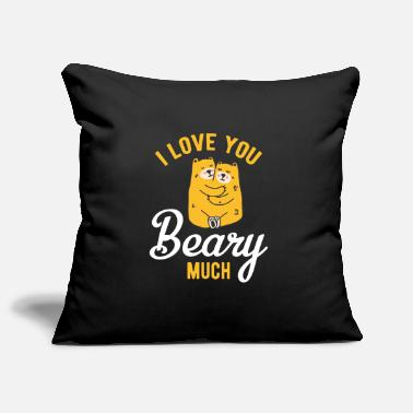 Couple couples partner look design with bear hug - Sofa pillowcase 17,3'' x 17,3'' (45 x 45 cm)