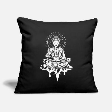 Dark Buddha in the lotus position - White- - Pillowcase 17,3'' x 17,3'' (45 x 45 cm)