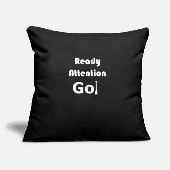 Ready Pillow Cases - Dragon Boat Start Command Ready Attention Go! - Pillowcase 17,3'' x 17,3'' (45 x 45 cm) black