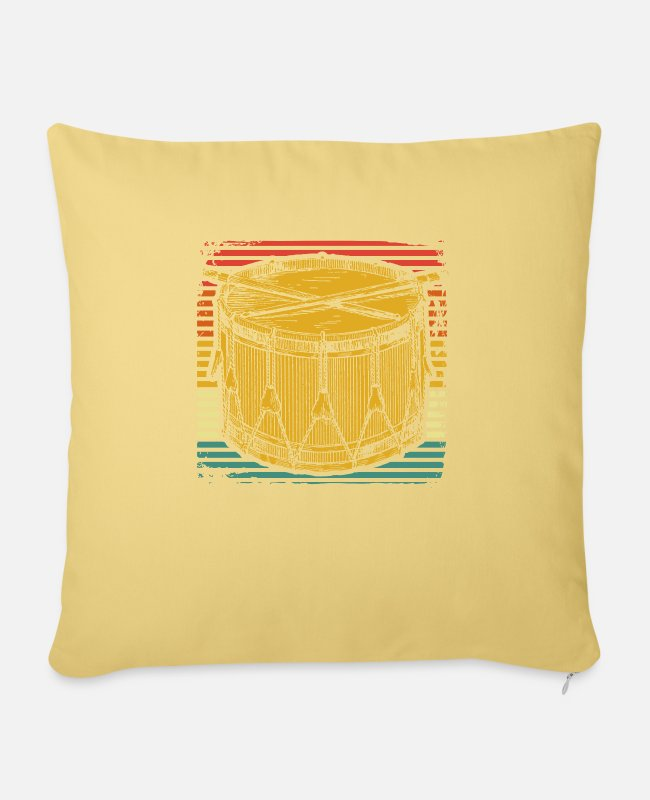 Drumsticks Pillow Cases - Drum orchestra - Pillowcase 17,3'' x 17,3'' (45 x 45 cm) washed yellow